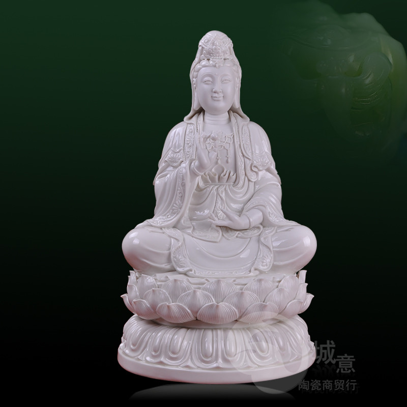 18 inch ceramic West Trinity white porcelain Kwan Yin Buddhist articles dedicated to pottery decoration also ornaments in Figurines Miniatures from Home Garden