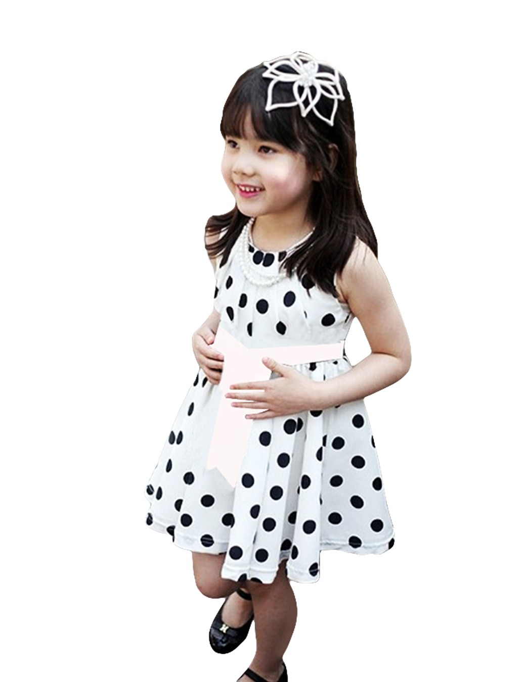 2016 Sale Kids Dresses For Girls Christmas Dress Korean Girl Kids Children's Casual Sleeveless O-neck Polka Dot Bow-knot Dress