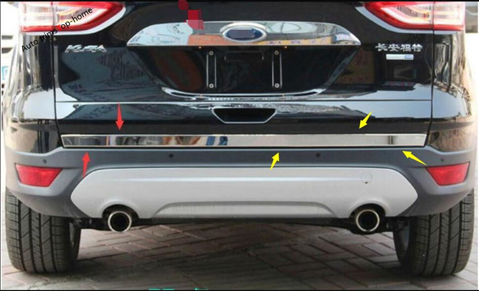 1 Pcs For Ford Kuga / Escape 2013 2014 2015 Stainless Steel Rear Trunk Tailgate Door Tail Bottom Lid Streamer Frame Cover Trim car auto accessories rear trunk trim tail door trim for subaru xv 2009 2010 2011 2012 2013 2014 abs chrome 1pc per set