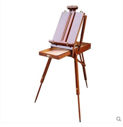 Italy Red Beech Wooden Portable art painting oil box easel solid wood handle painting easel made by Beech Easel For Painting цена