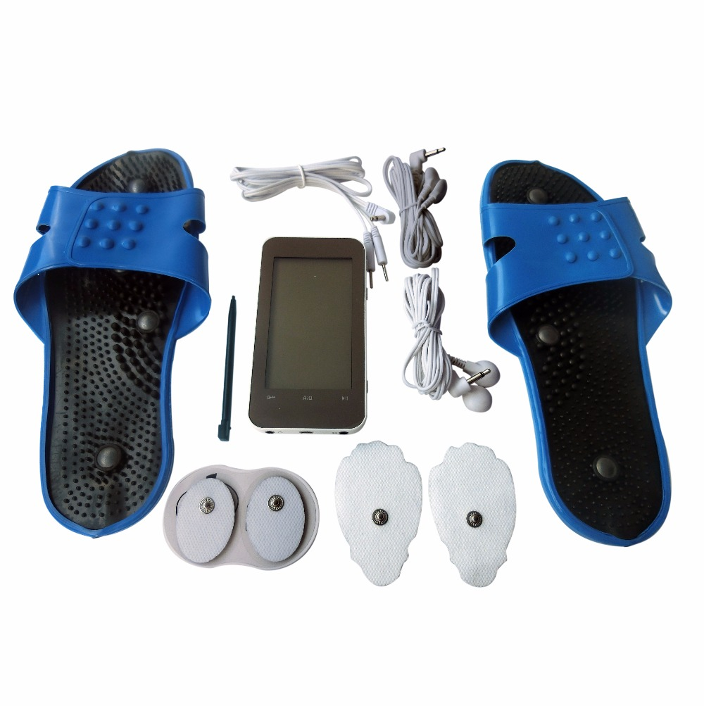 TENS Health Care Electrotherapy Digital Massager Muscle Stimulator+1Pair Electrode Massage Foot Relaxing Slipper Rubber Blue