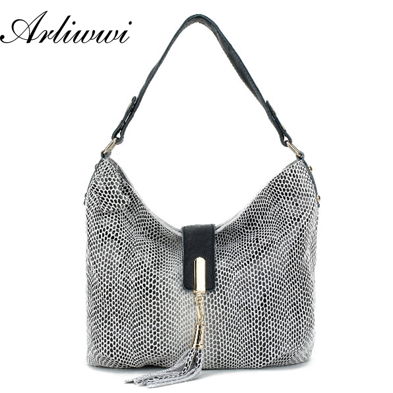 Arliwwi Brand OL Style Women GENUINE LEATHER Designer Handbags High Quality Snake Grain Multi functional shoulder