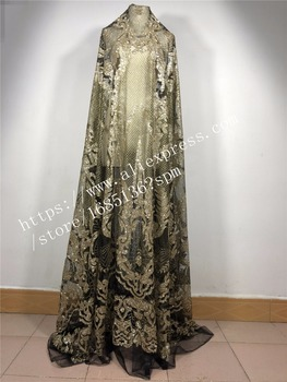 modern design french net lace fabric glued glitter african Tulle lace for wedding dress H-85632