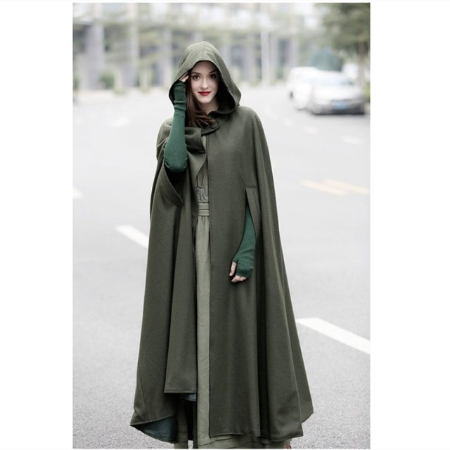 4f38980baf2 2018 Winter Cloak Hooded Coat Women Vintage Gothic Cape Poncho Coat  Medieval Victorian Warm Long Cape Trench Coat