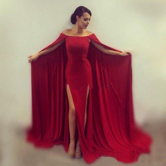 Abendkleider Lang 2017 robe caftan rouge avec Cape longues robes de soirée col bateau fente robe de bal robes de soirée Vestidos de noite