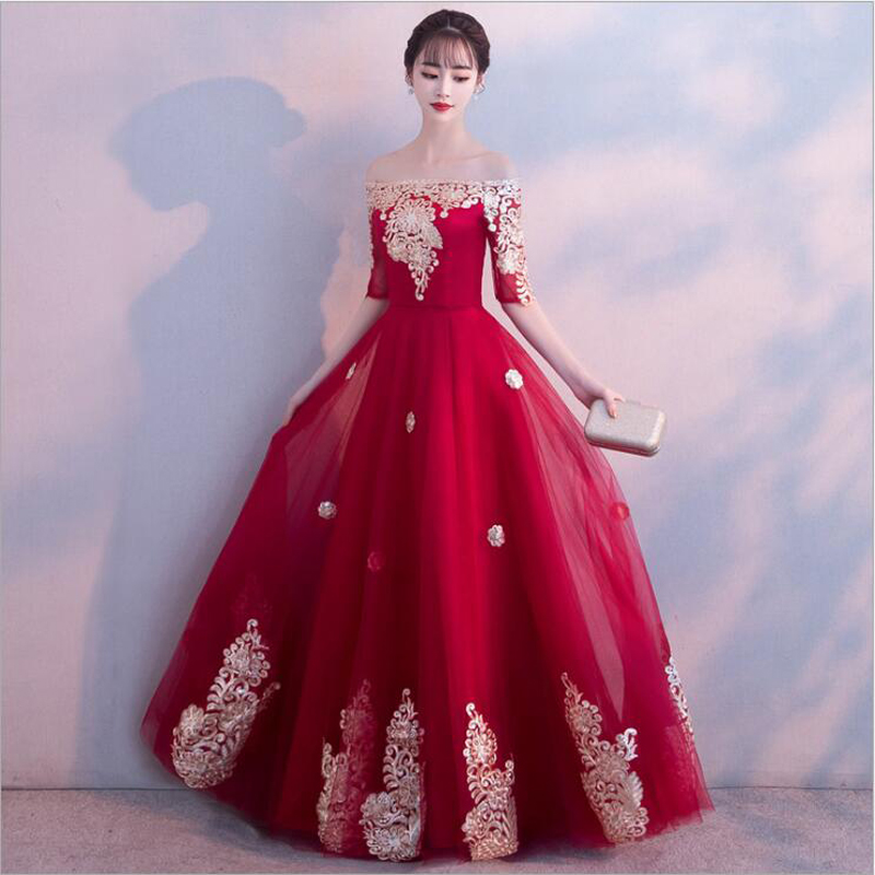 Colorful Charming Sexy Half Sleeves A Line Long   Prom     Dresses   2019 Boat Neck Red Lace Embroidery Floor Length   Prom     Dress