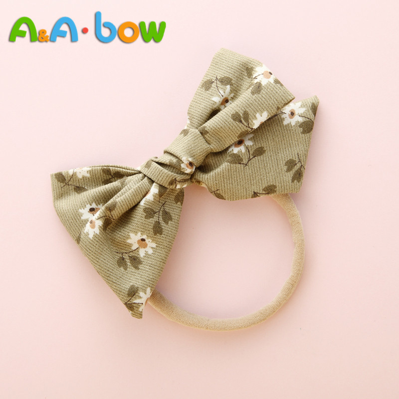 1PCS Print Floral Bow Nylon Headband For Baby Girls, Baby Stretch Headbands Cute Headwear Hair Accessories Head Wrap