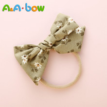 Nylon Headband Hair-Accessories Floral Baby-Girls Bow Print 1PCS for Stretch Cute