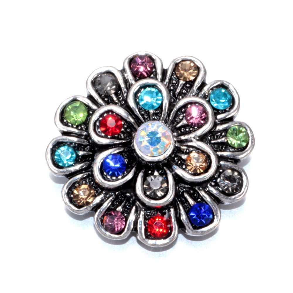 2017 Colorful Flower Pattern 6 Multi Color Rhinestone Charm Buttons 18mm Snap Button Jewelry Fit Snaps Jewelry KZ0187d