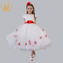 Girl's Princess Lace Dress Elegant Flower Edge Four-leaf clover Party Wedding Girls Clothes 4-12Y 2016 Spring Summer/Autumn