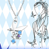 Anime D.Gray man Necklace Tyki Mikk Butterflies 925 Sterling Silver Pendant Necklace for Women Men Valentine's Day Gift jewelry