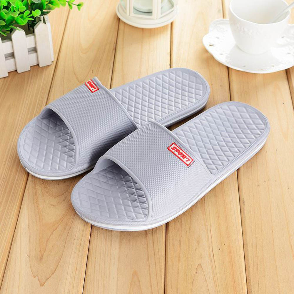 SA66 Men Solid Flat Bath Slippers Summer Sandals Indoor & Outdoor Slippers travel siketu 2017 man stripe flat bath slippers male summer sandals indoor