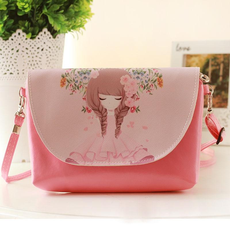 PU leather cartoon princess coin purse wallet kids mini messenger money pouch bag bolso mujer bolsa carteira feminina for girls
