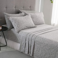 PHF Flannel Sheet Set 4Pcs Plaid Printing Cotton Bedsheets Sets Soft Fabric Bedding Sets Queen King Size Light Grey