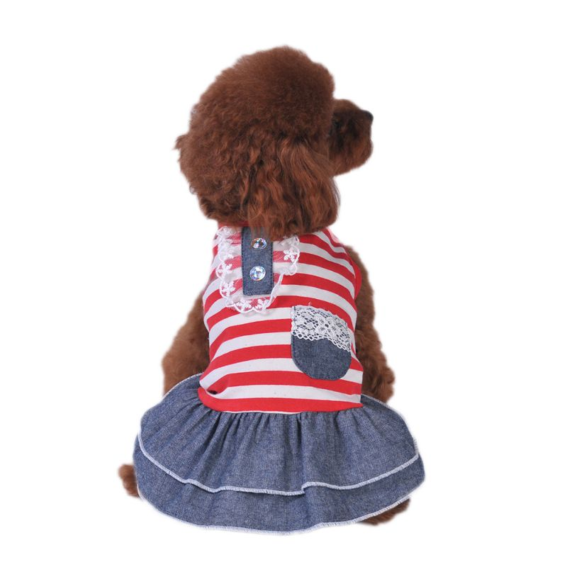 Lovely Dog Câine Denim Rochie Câine Pet Tutu fusta Printesa de - Produse pentru animale de companie