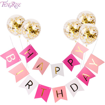 FENGRISE 12inch Gold Confetti Balloons Happy Birthday Party Decorations DIY 1st Birthday Balloons Wedding Event Party Favors letra g bem bonita