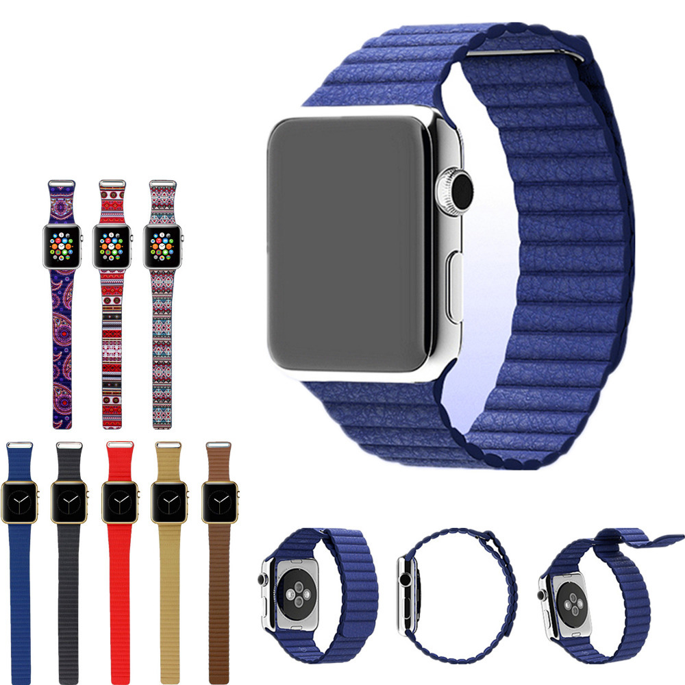 100% Genuine Leather Pop Leather Loop for Apple Watch Bands Type Watchband Strap Magnetic Buckle for iWatch 38mm/42mm