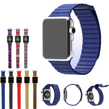 100 Genuine Leather Pop Leather Loop for Apple Watch Bands Type Watchband Strap Magnetic Buckle for