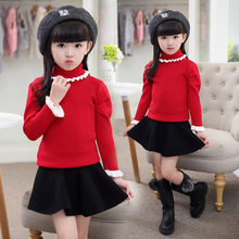 Female child sweater winter child 2016 turtleneck sweater thickening child thermal sweater