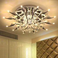 LED 30W Swan 12 Light Ceiling Light Modern Contemporary Crystal LED Chrome Metal Flush Mount 110