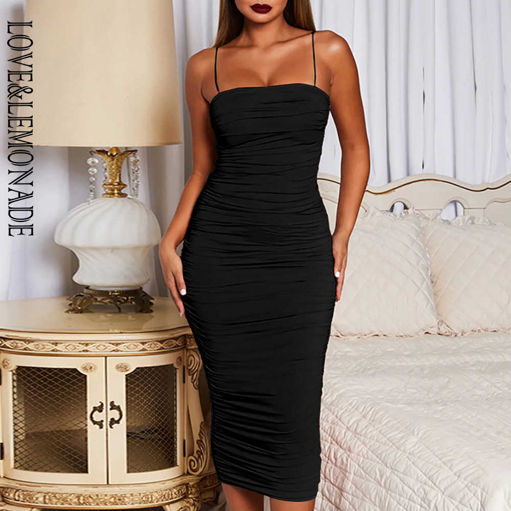 LOVE&LEMONADE Black Sexy Tube Top Sling Bodycon Elastic Long Dress LM90078