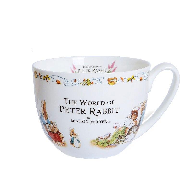 Conte de Pierre Lapin illustration peinture tasse os chine haute capacité grand lait tasse Britannique ferme style enfant Petit Déjeuner tasse