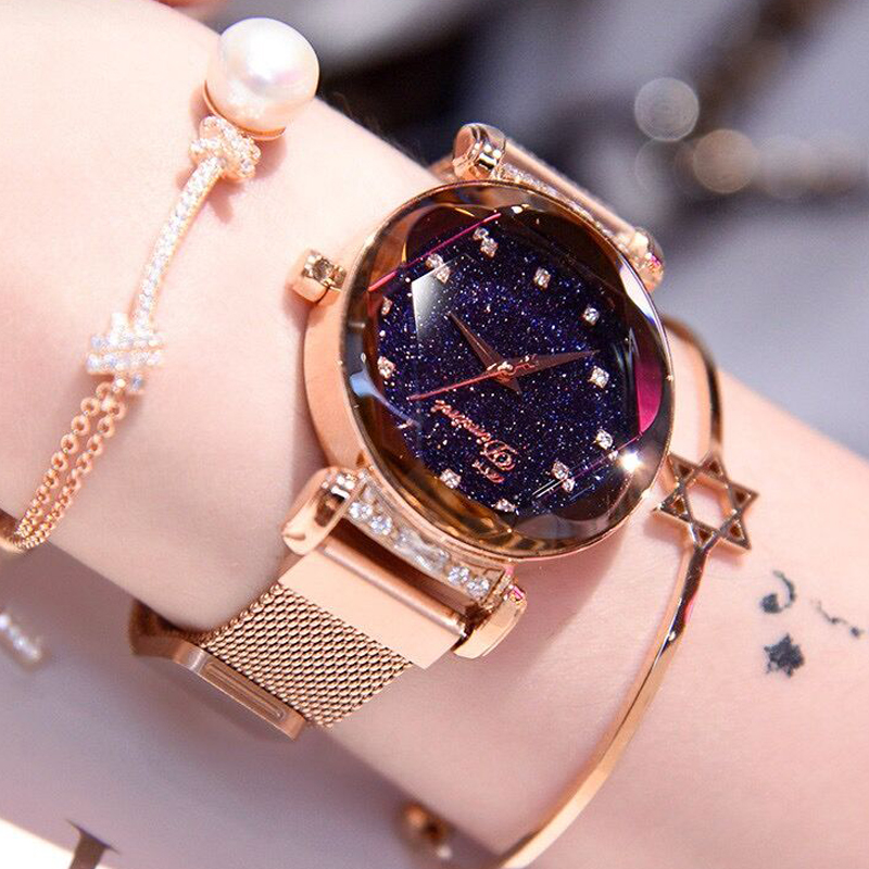 2019 Luxury Rose Gold Crystal Women Watches Stainless Steel Magnetic Creative Bracelet Quartz Lady Watch Waterproof Female Clock