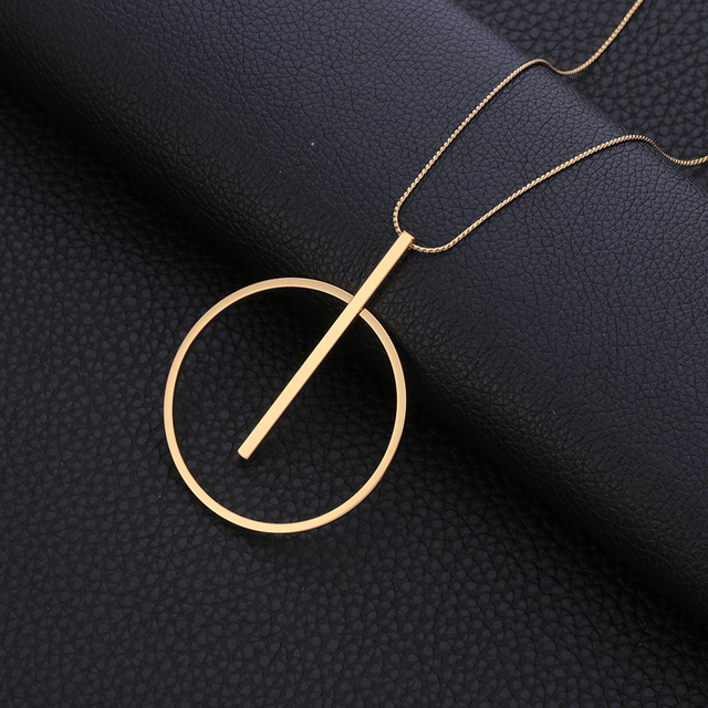 Circle Geometric Metal Pendant Long Statement Necklace