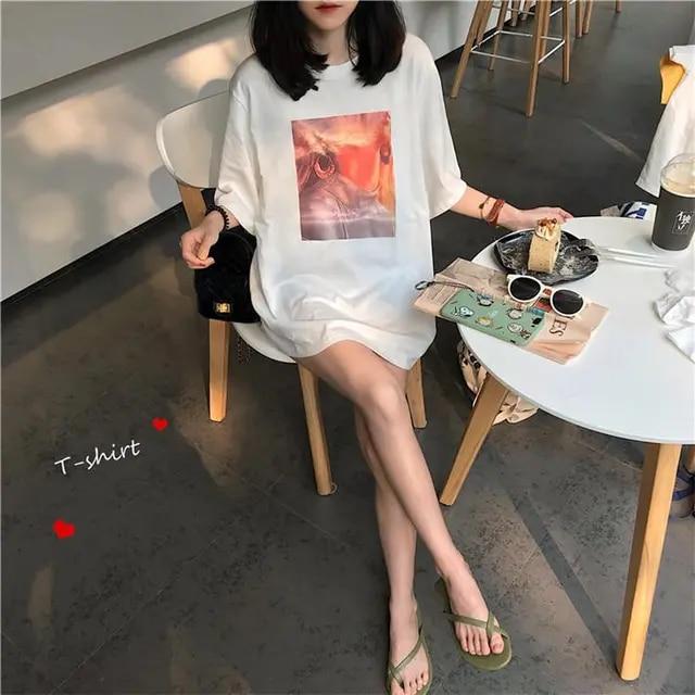 Simple Character Printed Big Short Sleeve Oversize Long Design Thin Fresh 2019 Summer Spring Short Sleeve Femal Women T-shirts