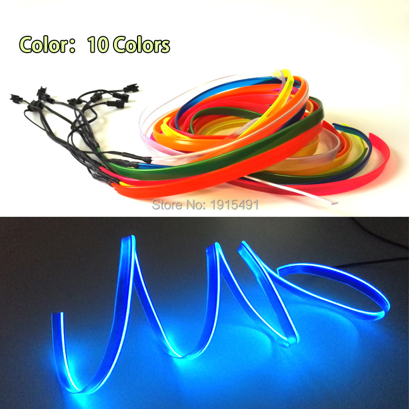 Bil Innredning 1m-5m Sewable 2.3mm skjørt EL Wire Tron Glow Wire Easy Sew Tag Fleksibel Flimrende Led Neon Strip for Festival