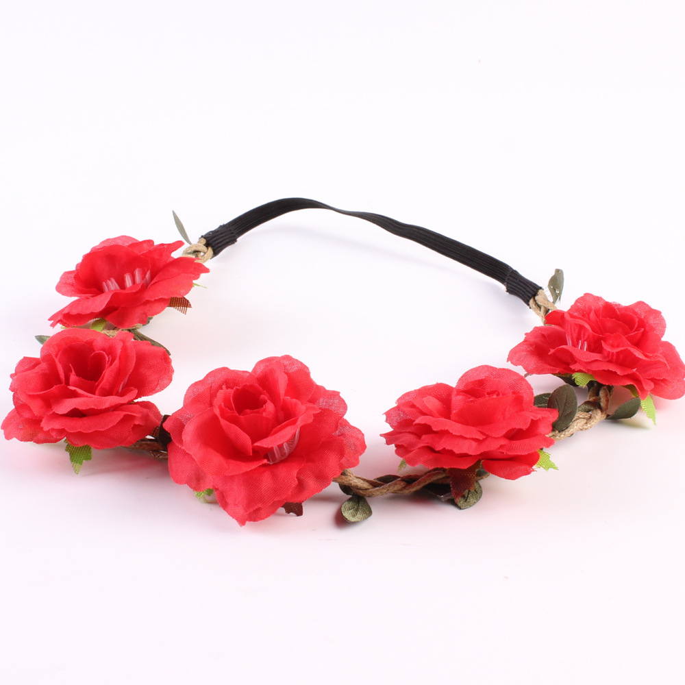 Red Rose Bridal Bridesmaid Hair Crown Wedding Party Flower Headband
