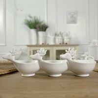 Handmade Upscale Deer Ceramic Bowl 3 Section White Ceramic Salt And Peper Holder Decorative Snack Dish