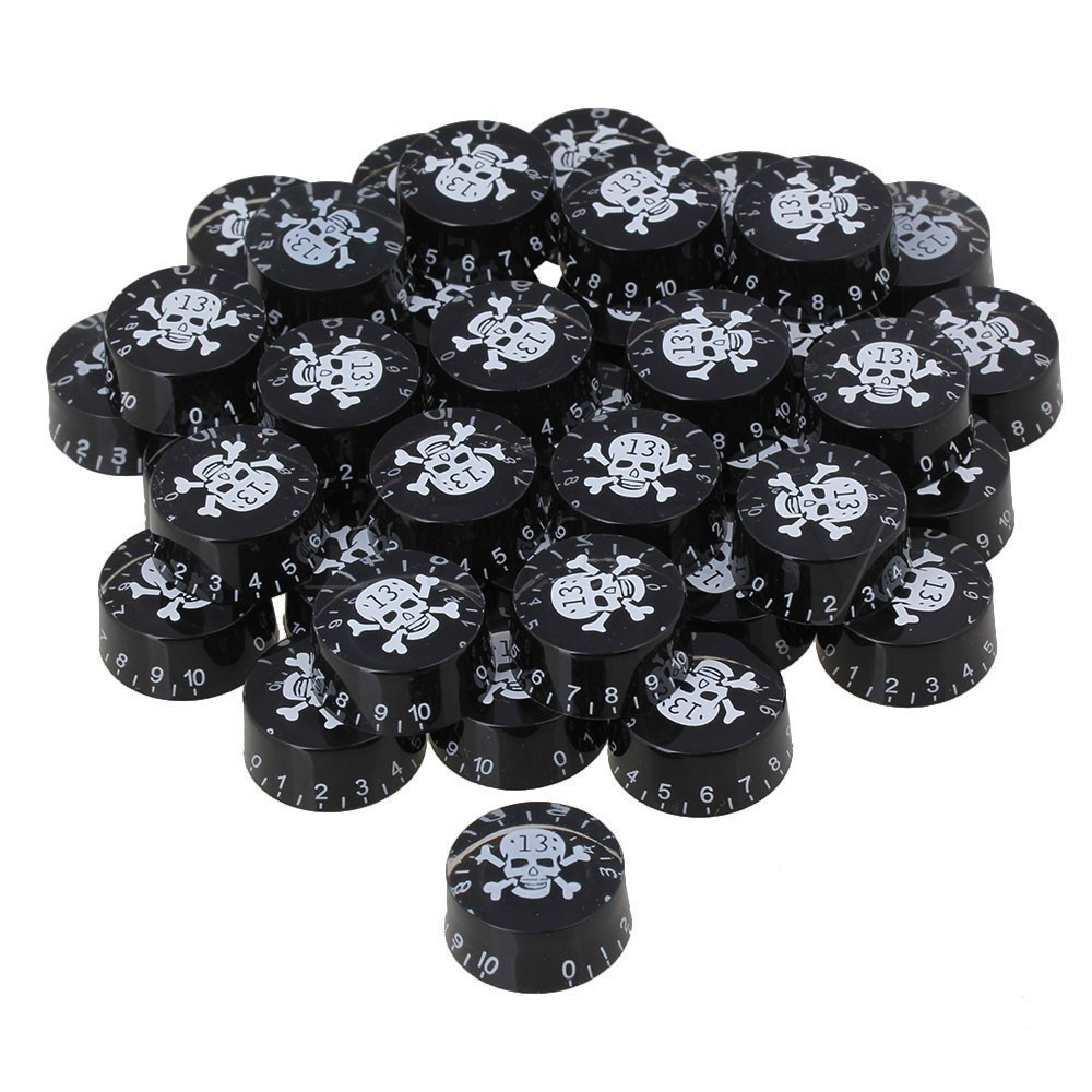 цена на Yibuy 200 x White Skull Electric Guitar Volume Tone Speed Control Knob Black