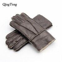 Qingtengメンズ冬革毛皮の手袋厚く暖かい手袋スノーボードリアルレザーウール毛皮の手袋シープスキン革手袋男