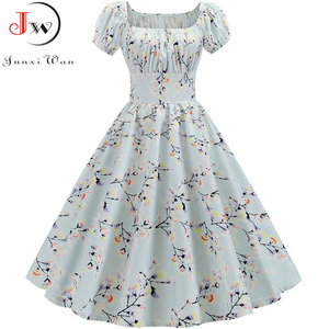 Image 2 - Plus Size Summer Dress Women Puff Sleeve Swing Vintage Dresses Robe Femme Elegant Floral Print Pin Up Party Dresses Jurken