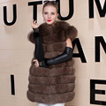 Winter Real Fox Fur Vest Women 2016 Genuine Fox Fur Coat Gilet Long Jacket New Fashion Russian Real Natural Fox Fur Coats Vest