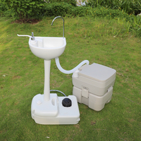 Portable Removable Outdoor Hand Wash Basin Sink With Portable Toilet
