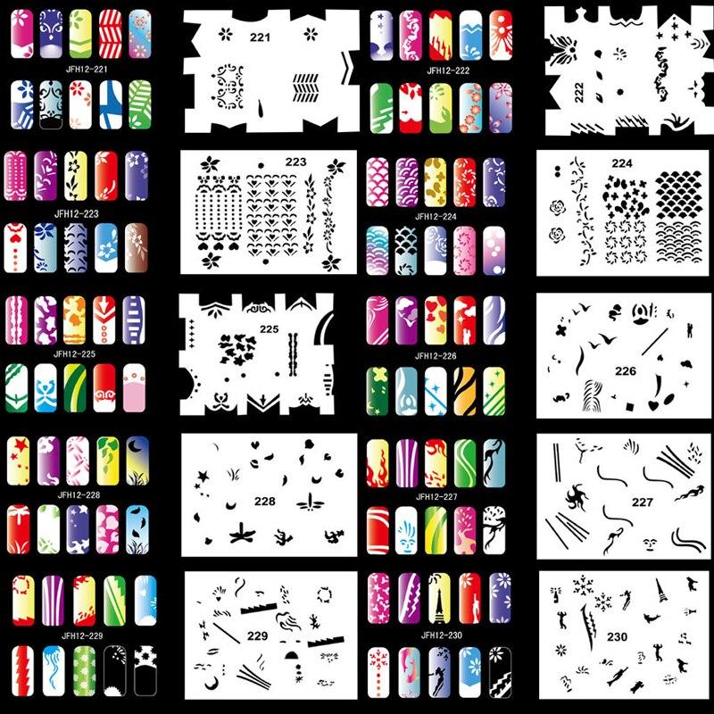 OPHIR 20PCS Airbrush Nail Stencils 200 Designs Airbrushing Template ...