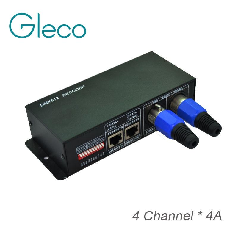 DMX 512 Decoder 4A 4 Channels RGB LED Controller,DC12 24V for RGB Ceiling Lamp,Led Strip light 5050 RGB