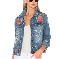 2018 New Spring Autumn Women's Flower Embroidered Denim Jacket For Woman Ladies Jeans Outerwear Long Sleeve Coat Femme Plus Size
