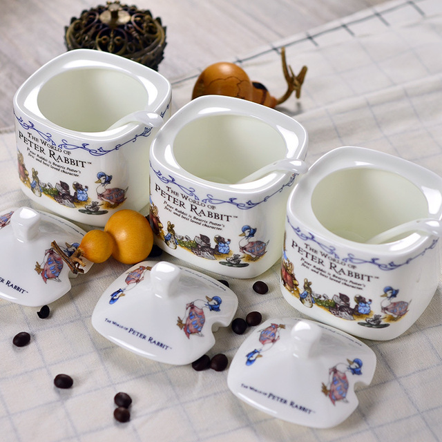 Bone China Peter Rabbit Suikerpot Sugar Bowl Lid Spoon Saltcellar Seasoning Box Flavor Pot Monosodium Glutamate
