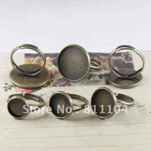 10mm de Bronze Antigo Do Vintage Bronze Cobre Bases Em Branco Rodada Tray Cap Y Dedo Anéis Configurações Diy Cab Descobertas Jóias atacado