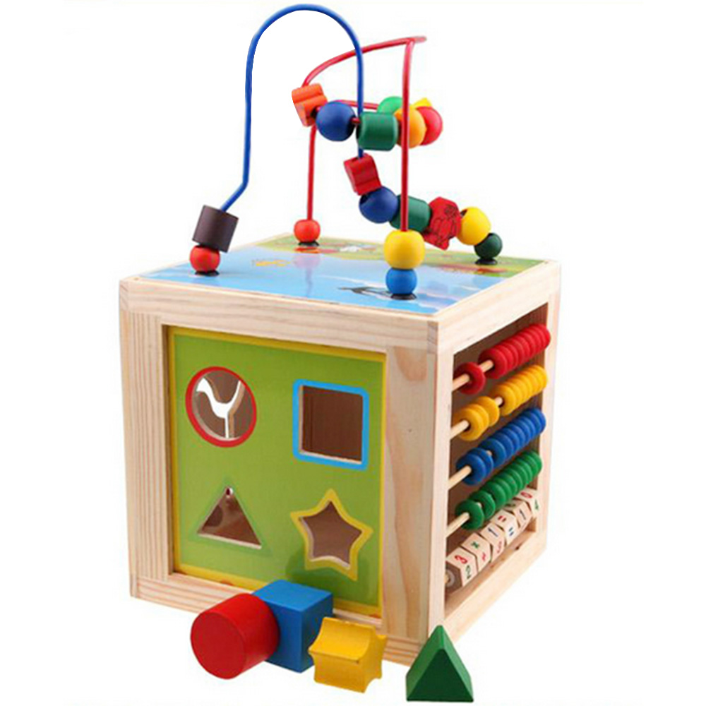 Kids 5 in 1 Educational Wooden Toy Around Beads Toys Maze Beads Abacus Shape Match Games Clock Toy for 1-3 Years Old Kids