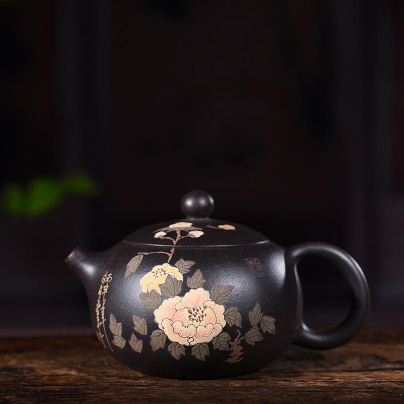 Yixing purple clay pot genuine hand-painted original black clay mud painting Peony Xishi pot Kungfu Teapot Set