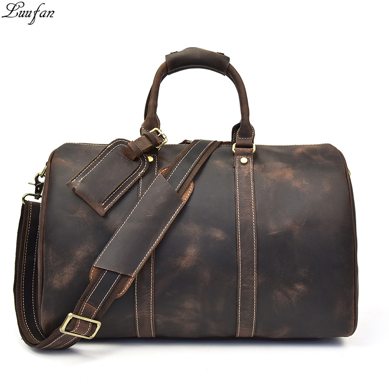 Men s Vintage Crazy horse leather travel duffel 18 inch Brown genuine leather travel bag Durable