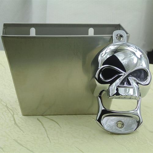fae12ca6be new stainless steel skull wall mount ( mounted ) bottle opener head open bottle  here Beer Bottle Brushed SS Cap Catcher Screws