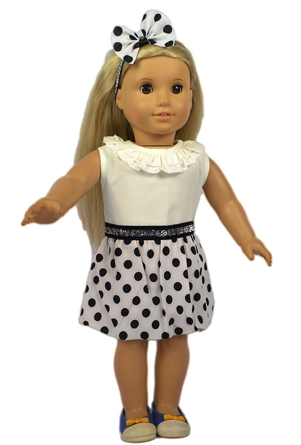 Fashion American Girl Doll Clothes of Polk Dot Dress+Bow Hair Hoop for 18 American Girl Doll and Other 18 Girl Dolls