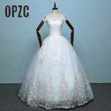 100% Real Photo Heißer Neue Kommen Hochzeit Kleid 2020 Braut Elelgant Kurzarm Süße Boot ausschnitt Klassische Spitze Stickerei Prinzessin