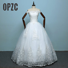 100% Real Photo Hot New Arrive Wedding Dress 2020 Bride Elelgant Short Sleeve Sweet Boat Neck Classic Lace Embroidery Princess
