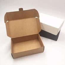Упаковочная коробка из крафт-бумаги, черно-коричневая упаковочная коробка из бумаги для футболок, пустая белая подарочная картонная коробк...